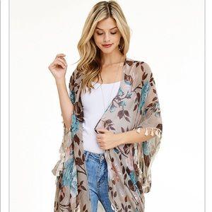 Tops - 🎉SALE🎉⭐️Tan Floral Kimono Coverup⭐️